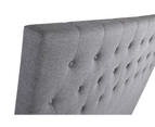 Grey Fabric Bed Head Upholstered Headboard Queen Size Bedhead Frame 3
