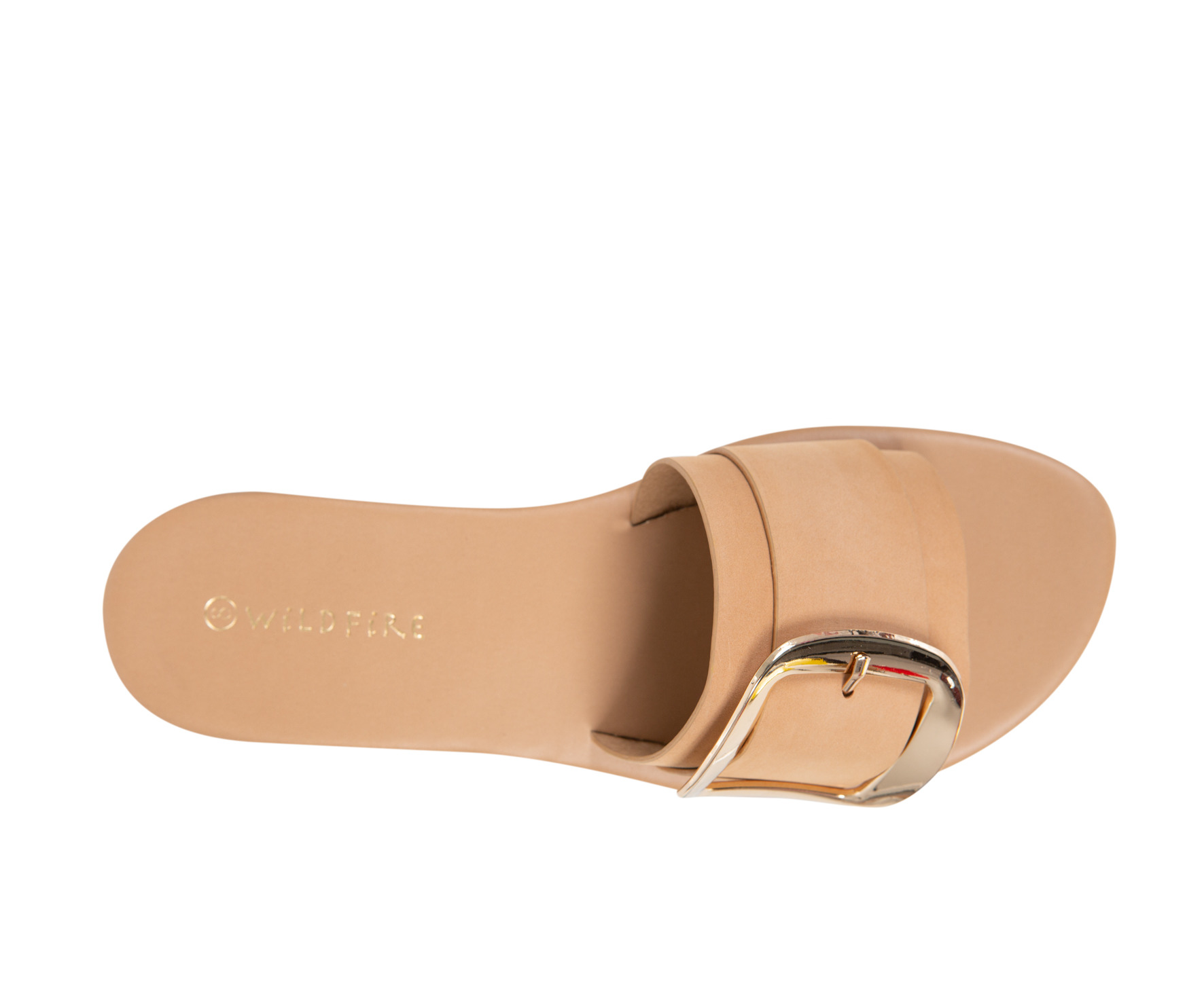Athens Wildfire Womens Casual Flat Sandal Slide Buckle Trim Natural