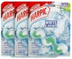 3 x Harpic White & Shine Bleach Rim Block Lime Fresh 39g 1