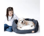Oval Dog Bed, Charcoal & Faux Sherpa 1