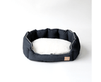 Oval Dog Bed, Charcoal & Faux Sherpa 2