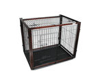 Dog Cage with Sliding Top, Wood Frame & Black Steel Crate 1