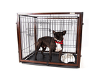 Dog Cage with Sliding Top, Wood Frame & Black Steel Crate 2