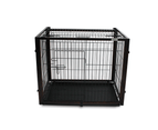 Dog Cage with Sliding Top, Wood Frame & Black Steel Crate 3