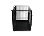 Dog Cage with Sliding Top, Wood Frame & Black Steel Crate 5