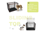 Dog Cage with Sliding Top, Wood Frame & Black Steel Crate 6