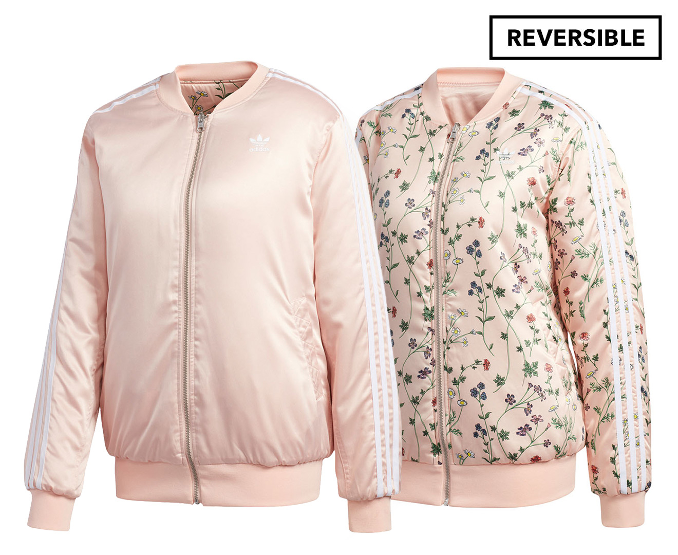 Details about Adidas Originals Women's Printed Reversible Bomber Jacket Pink