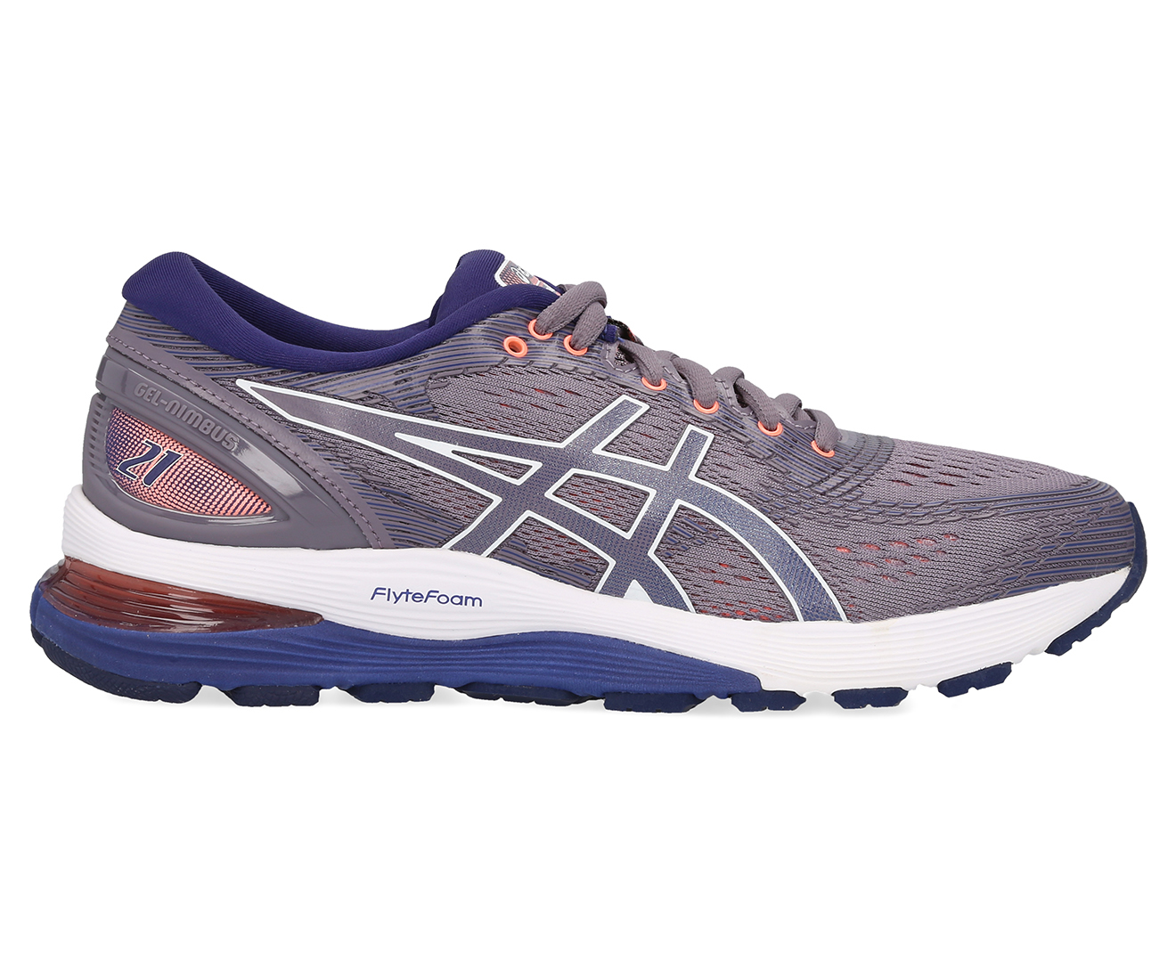 Details about ASICS Women's GEL Nimbus 21 Running Shoes Lavender GreyDive Blue