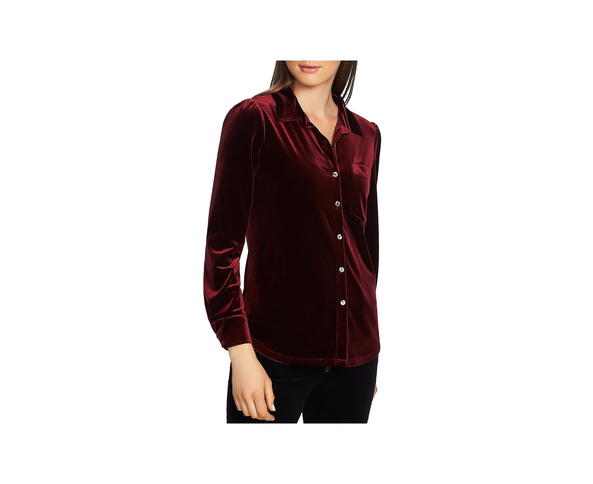 1 State Womens Velvet Long Sleeves Button Down Top Catch