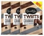 3 x Darrell Lea Twists Liquorice Dark Chocolate 200g 1