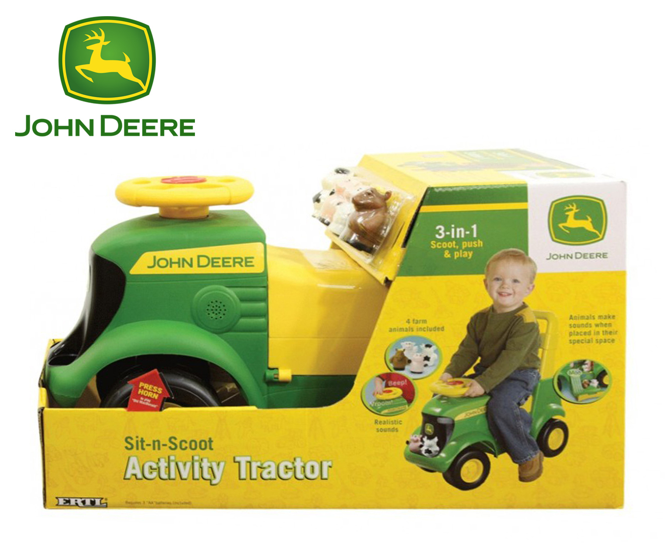 Kids Ride On Toy John Deere SitNScoot Activity Tractor New Car  Gift