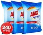 3 x 80pk Ajax Spray n' Wipe Large Antibacterial Wipes Sparkling Fresh 1