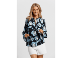 KAJA Clothing LENA Top - Navy Floral 100% viscose 3
