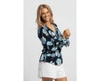 KAJA Clothing LENA Top - Navy Floral 100% viscose 4