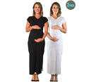 2 x Pack Of Lilly & Me Cotton Maxi Dresses - Black & Grey 1