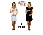 Maternity & Nursing Dresses - 2 X PACK - Black & Grey 1