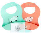 Set of 2 | Aussie Brand Lunart Ultra-Soft Lamb Silicone Bib in a Gift Bag  (Sky Blue & Coral Pink) 1