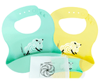 Set of 2 | Aussie Brand  Lunart Ultra-Soft Lamb Silicone Bib in a Gift Bag  (Sky Blue & Honey Bee Yellow) 1