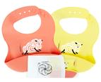 Set of 2 | Aussie Brand  Lunart Ultra-Soft Lamb Silicone Bib in a Gift Bag  (Honey Bee Yellow & Coral Pink) 1