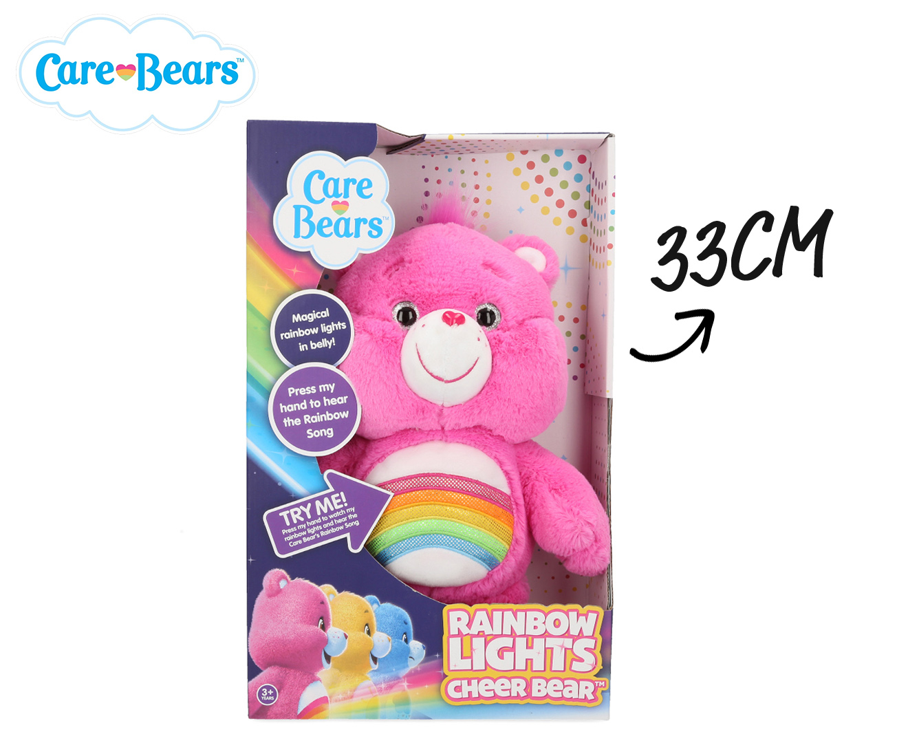 "NEW Care Bears Pink 11.5/"" Soft Plush Toy Backpack Bag FREE SHIP"