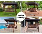 Wooden Swing Chair Hanging Chairs Hammock Outdoor Furniture 3 Seater Canopy Garden Bench Seat Patio Lounger Cushion Backyard Park Gardeon Charcoal 10