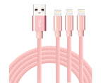WIWU 1M 2M 3M 5Packs iPhone Cable Nylon Braided Phone Cable Fast Charger Lightening Cord (Pink) 1