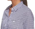 KingGee Women's Check 3/4 Shirt - Blue 5