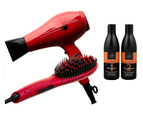 Cabello Pro 4600 Hair Dryer + Glow Straightening Brush + Shampoo & Conditioner 'Keep Me Hot' - Red 1