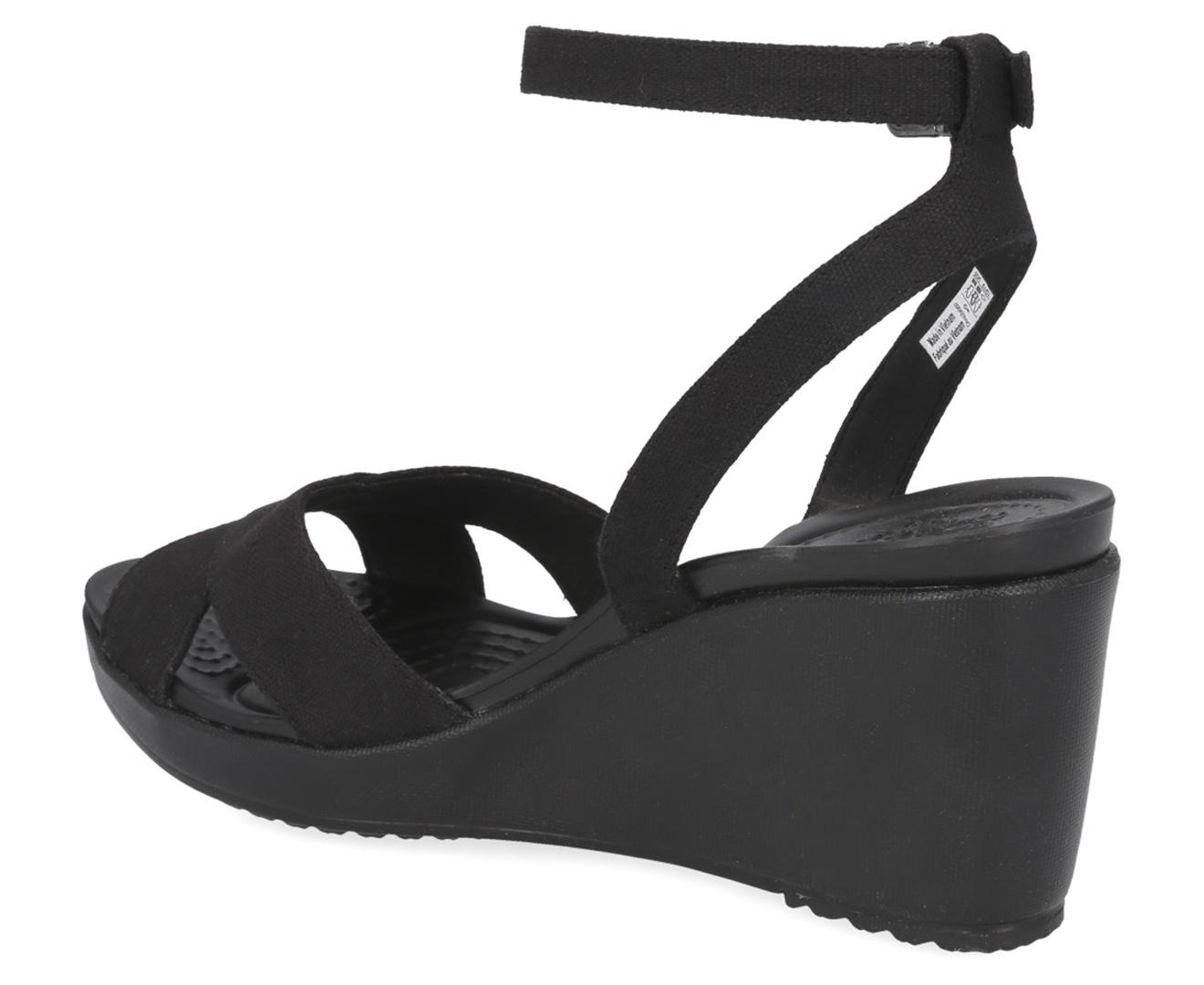 Crocs Women's Leigh II Cross Strap Ankle Wedge Sandals BlackBlack
