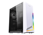 Armaggeddon Gaming Computer Case Micro-ATX Tower Tempered Glass Side Panel RGB Strip without PSU & Fan Nimitz N5-White 1