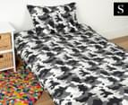 Kid's Workshop Army Single Bed Quilt Cover Set - Grey 1