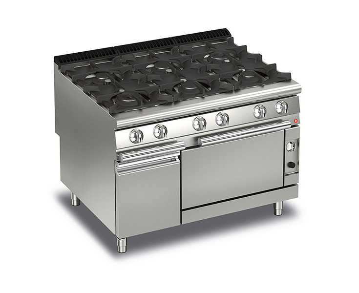 Baron 6 Burner Gas Cook Top With Gas Oven Silver Catch