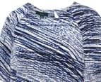 NNT Women's Raglan Sleeve Shell Top - Blue/White 4