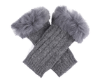 Dents Women's Lambswool Angora Cable Knit Wrist Arm Warmers - Charcoal 1