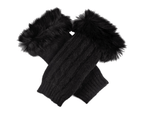 Dents Women's Lambswool Angora Cable Knit Wrist Arm Warmers - Black 1
