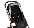 Get Foiled Mini Pram Liner with adjustable head support - Black/Gold Spots 1
