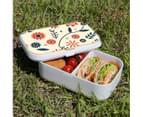 Lunch Box Food Container Picnic Authentic Wood Strap Cutlery Flowers Orange Blue 3
