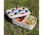 Lunch Box Food Container Picnic Authentic Wood Strap Cutlery Zigzag Blue Orange 3