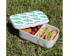 Lunch Box Food Container Snack Picnic Authentic Wood Strap Cutlery Blue Candy 3