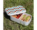 Lunch Box Food Container Picnic Authentic Wood Strap Cutlery Zigzag Blue Red 3