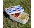 Lunch Box Food Container Picnic Authentic Wood Strap Cutlery Zigzag Salmon Blue 3