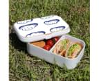 Lunch Box Food Container Snack Picnic Authentic Wood Strap Cutlery Blue Clouds 3