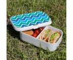 Lunch Box Food Container Picnic Authentic Wood Strap Cutlery Blue Green Abstract 3