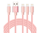 WIWU 4Packs  iPhone Cable Phone Charger Nylon Braided Cable USB Cord -Pink - 1M+1M+2M+3M 1