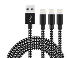 WIWU 3Packs iPhone Cable Phone Charger Nylon Braided  Cable USB Cord -Black White - 3Packs 3M 1