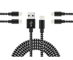 WIWU 5Packs iPhone Cable Phone Charger Nylon Braided Cable USB Cord -Black White - 1M+2M+3M+3M+3M 1