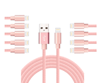 WIWU 10Packs  iPhone Cable Phone Charger Nylon Braided Cable USB Cord -Pink - 10Packs 3M 1