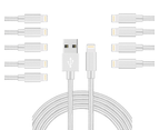 WIWU 10Packs iPhone Cable Phone Charger Nylon Braided Cable USB Cord Silver - 10Packs 2M 1