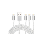 WIWU 4Packs iPhone Cable Phone Charger Nylon Braided Cable USB Cord Silver - 1M+2M+3M+3M 1