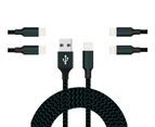 WIWU 5Packs WH iPhone Cable Phone Charger Nylon Braided Cable USB Cord -Navy - 5Packs 3M 1